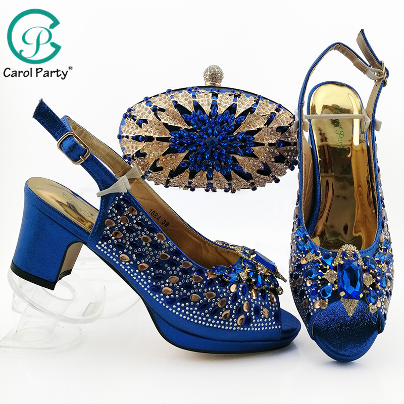 Latest Italian New Design High Quality Italian Shoes And Bag To Match Nigerian Women Matching Shoes Bag Set In Royal Blue Color