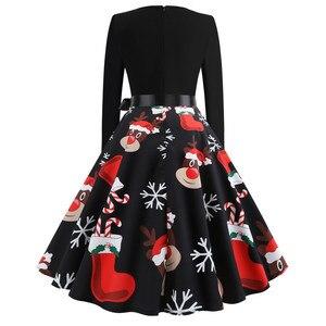 Image 2 - Robe de noël vintage pour femmes, tenue de soirée élégante, manches longues, décontractée, modèle swing, pin up, grande taille, impression en noir, inspiration années 50, 60