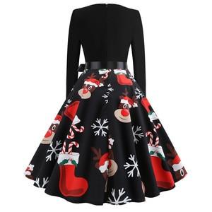 Image 2 - Winter Weihnachten Kleider Frauen 50S 60S Vintage Robe Schaukel Pinup Elegante Party Kleid Langarm Casual Plus Größe druck Schwarz