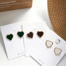 Fashion Heart Stud Earrings Enamel Golden Sweet Jewelry Vintage Statement For Girls Women Gifts