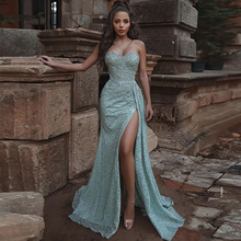 Verngo Evening-Dress Formal-Dress Blue Prom-Gown Appliques Lace Mermaid Party Night Side-Slit