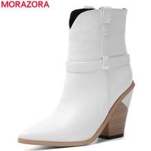 Morazora 2020 新アンクルブーツ女性の靴ウェッジハイヒールウエスタンブーツファッション冬ショートブーツレディースシューズ