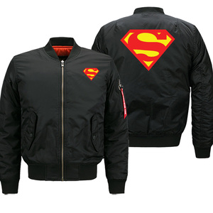 Image 2 - הגעה חדשה 2019 חורף מעילי Mens בייסבול אחיד סופרמן באיכות מזדמן גברים מפציץ מעיל מכירה לוהטת טייס מעיל מותג בגדים