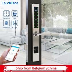 Водонепроницаемый Европейский стиль Bluetooth блокировка отпечатков пальцев электронный умный дверной замок для алюминиевых стеклянных двере...
