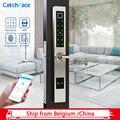 Wasserdicht Europäischen Stil Bluetooth Fingerprint Lock Elektronische Smart türschloss Für Aluminium Glas Tür-in Elektroschloss aus Sicherheit und Schutz bei