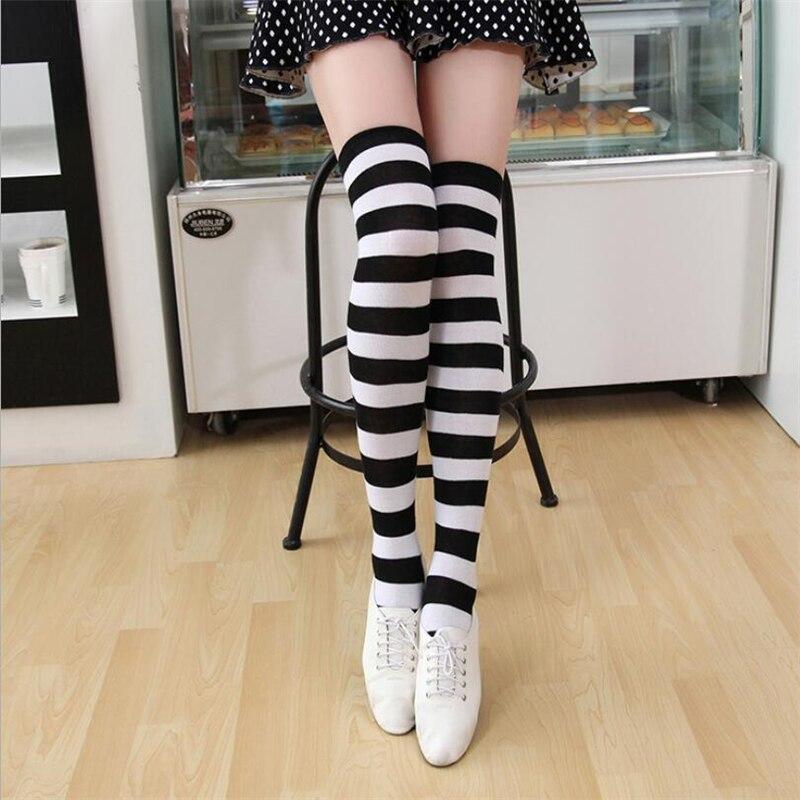 1 пара носков женские гольфы высокие носки в японском стиле носки в полоску высокие носки дышащие носки в полоску