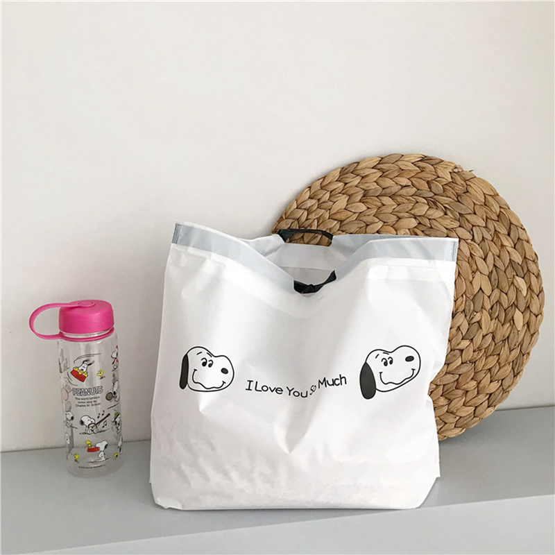 Cartoon Animal Small Dog Shopping Bag Travel Portable Beach Reusable Shoulder Satchel Women Grocery Drawstring Storage Pouch