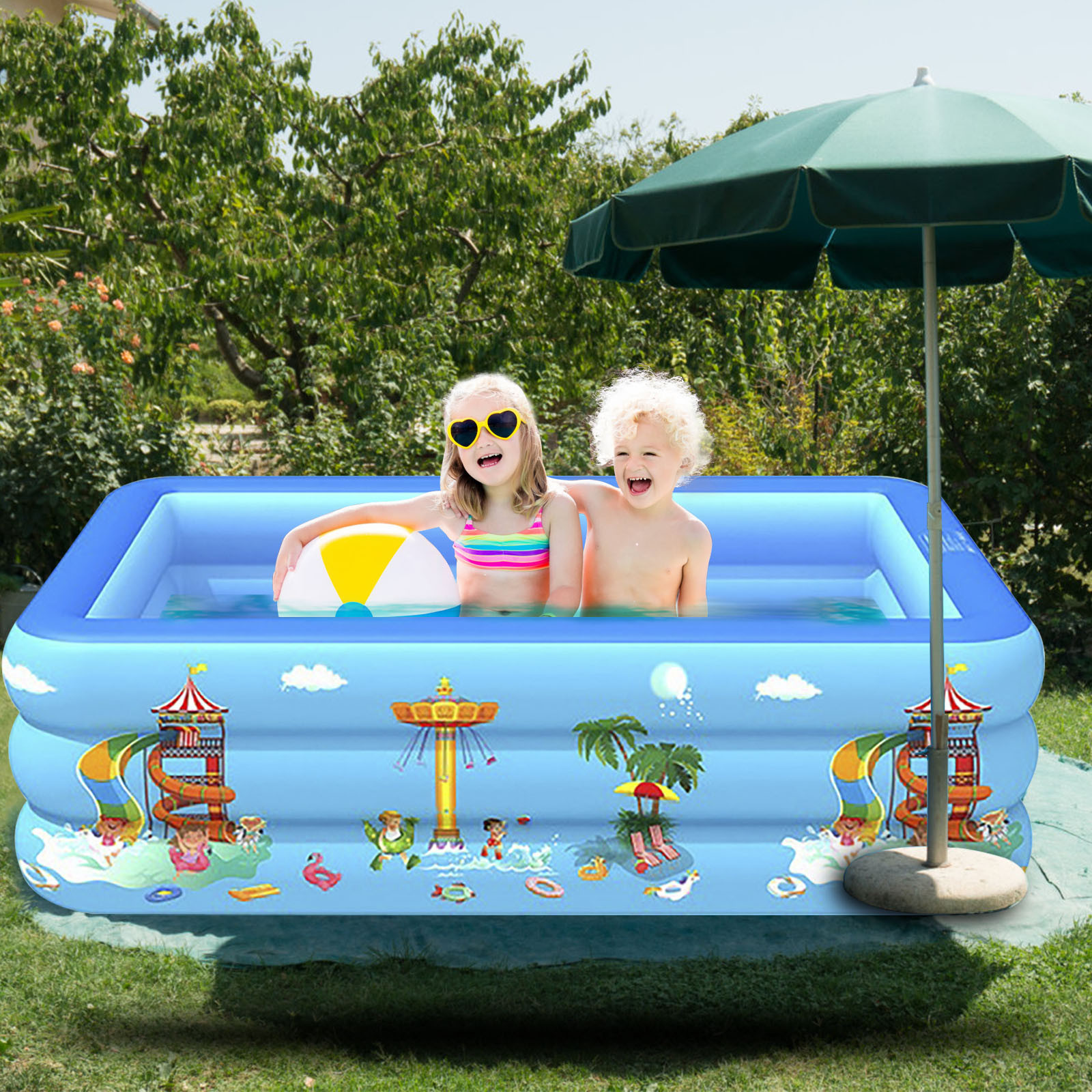 Inflatable Swimming Pool Children's Baby Paddling Square Bubble Bottom Pool Swimming Supplies Toddler Games Piscina Kid Pool