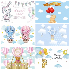 Image 1 - Laeacco Birthday Party Photography Backdrops Blue Sky White Clouds Balloons Bear Newborn Baby Shower Photo Backgrounds Photocall