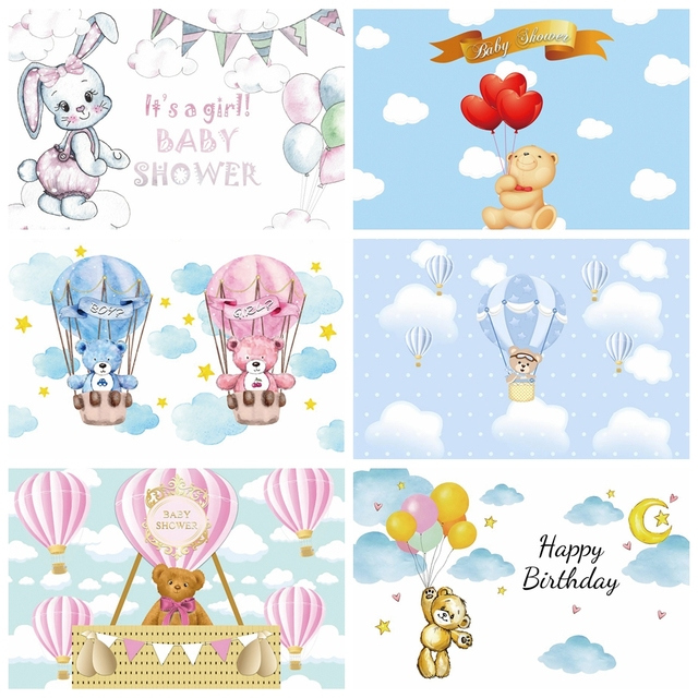 Laeacco Birthday Party Photography Backdrops Blue Sky White Clouds Balloons Bear Newborn Baby Shower Photo Backgrounds Photocall