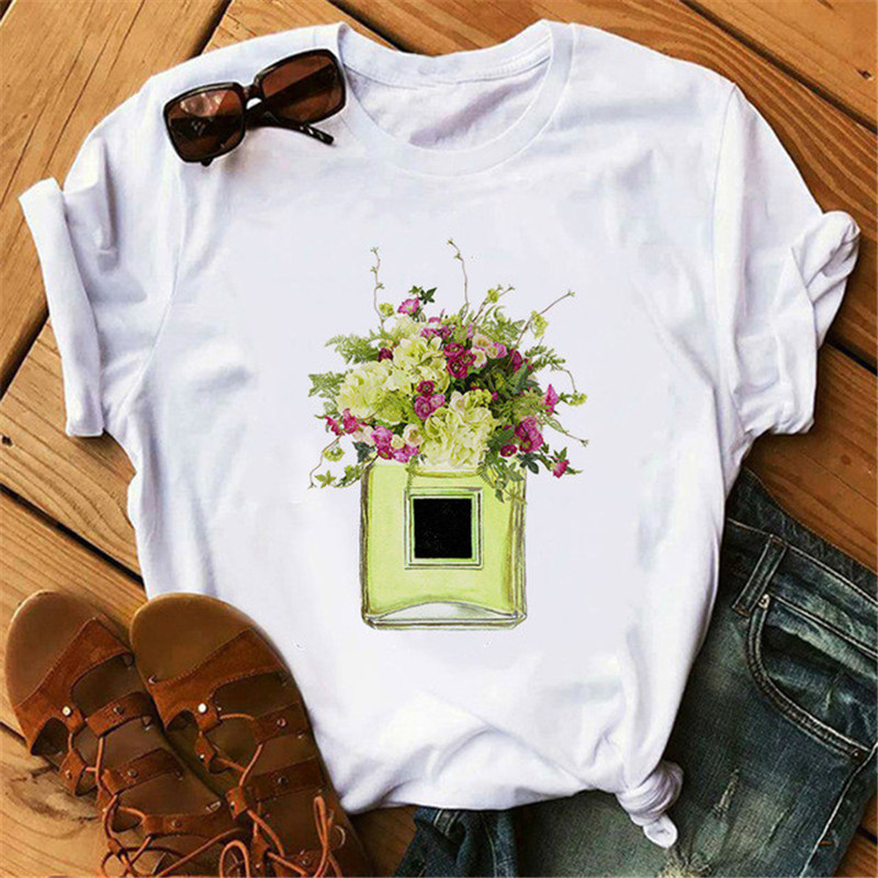 New Summer 2020 Luxury Of Paris Perfumer Floral Stripe TShirt Women Summer Fashion Shirt Female Streetwear Tshirt Vogue Clothing