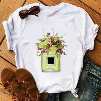 цены new summer 2020 luxury of Paris Perfumer Floral Stripe TShirt Women Summer Fashion Shirt Female Streetwear Tshirt Vogue Clothing