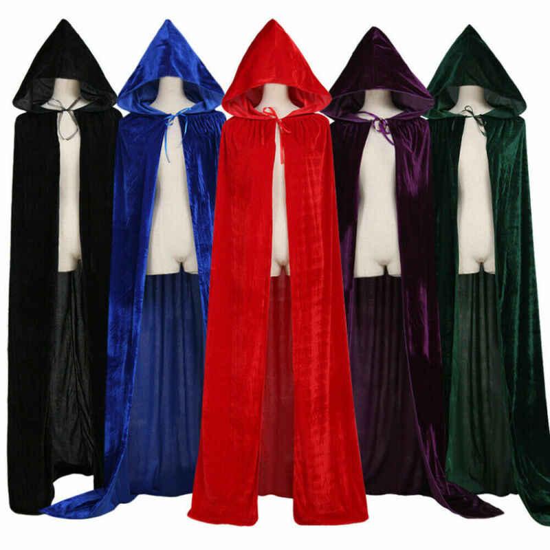 大人ハロウィンベルベットマントマントフード付き中世衣装魔女ウィッカ男性吸血鬼女性怖い衣装