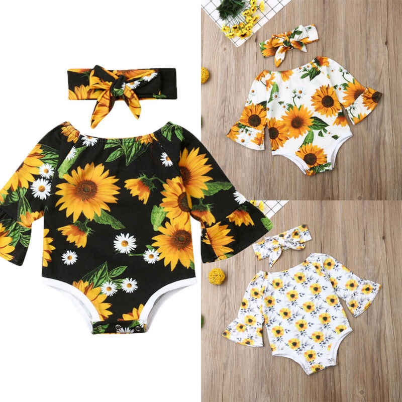 Bayi Baru Lahir Pakaian Bayi Gadis Putri Bunga Bodysuit Jumpsuit Kerut-kerut Lengan Panjang Pakaian + Headband 2Pcs Pakaian