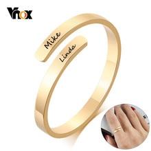 Vnox spersonalizowane grawerowane nazwy pierścienie dla kobiet rozmiar regulowany stal nierdzewna na zamówienie rocznica prezenty dla niej biżuteria