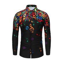 Осенние мужские рубашки, Повседневная облегающая уличная одежда с принтом музыкальных нот, Черная Мужская рубашка на пуговицах с отворотом, топы с длинным рукавом
