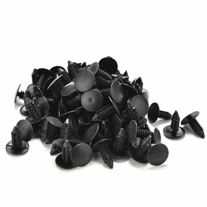 100 قطعة أسود اللون 6 مللي متر ديا باب لوحة الكسوة الأسود برشام بلاستيك السحابة كليب لسيارة Vehical