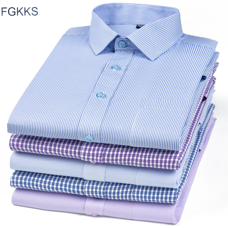 FGKKS Men Dress Shirt Long Sleeve Multi Color Original Men's Bottoming Shirts Lapel Casual Male Top