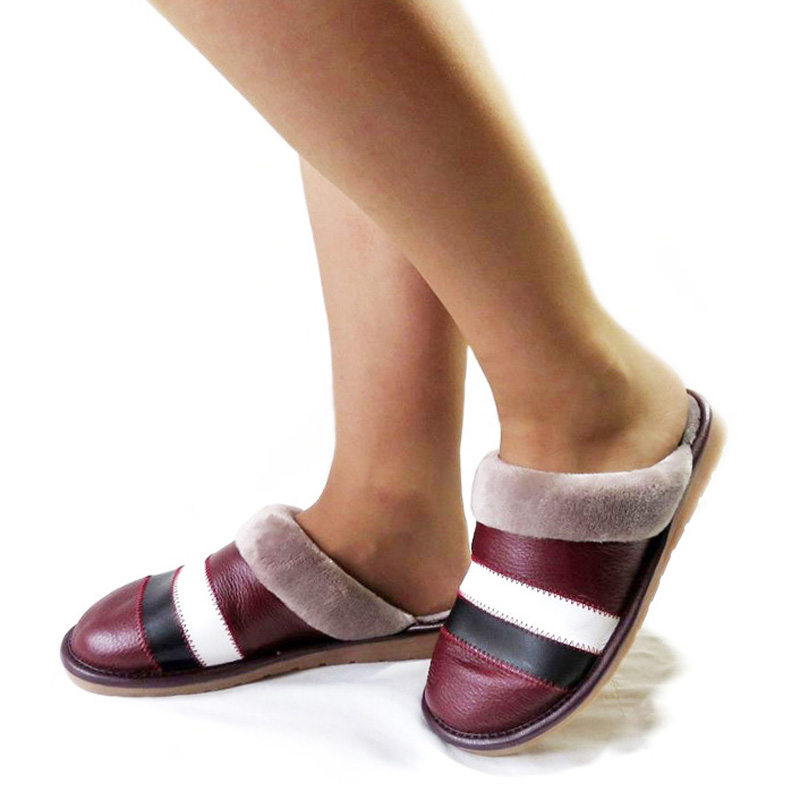 Winter Indoor Slippers Women Genuine Cow Leather Fashion Lady Warm Shoes Casual Woman Sewing Striped Black Brown Red Slipper