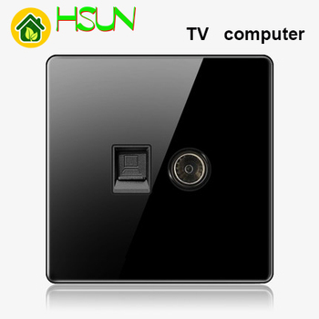 High-grade 1 2 3 4 gang 1 2 way big panel black switch socket Type 86 Wall 2.5D Cambered Mirror Toughened glass Computer TV 21