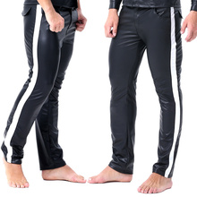 Erkek pantolon PU deri çizgili yan spor elastik pantolon vücut geliştirme pantolon rahat spor Joggers pantolon sahne gösterisi Clubwear