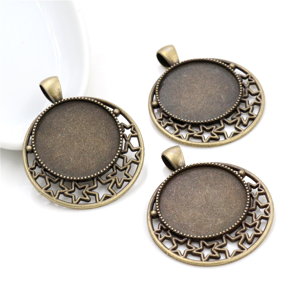 New Fashion  5pcs 25mm Inner Size Antique Bronze Cameo Cabochon Base Setting Charm Pendant (A5-12)