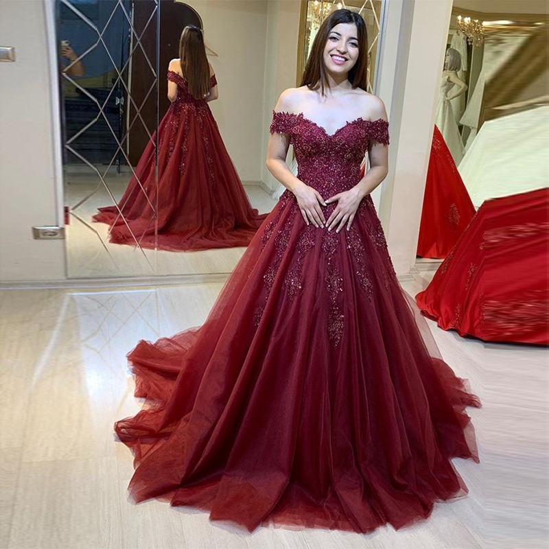Off Shoulder Burgundy   Prom     Dresses   A-line Luxury Appliques Beading Tulle Vestido De Formatura Sweep Train Robe De Bal   Prom   Gowns