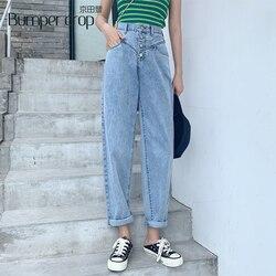 Женские свободные джинсы-шаровары Bumpercrop, повседневные джинсы с высокой талией для мам, уличная одежда, винтажные джинсы-шаровары