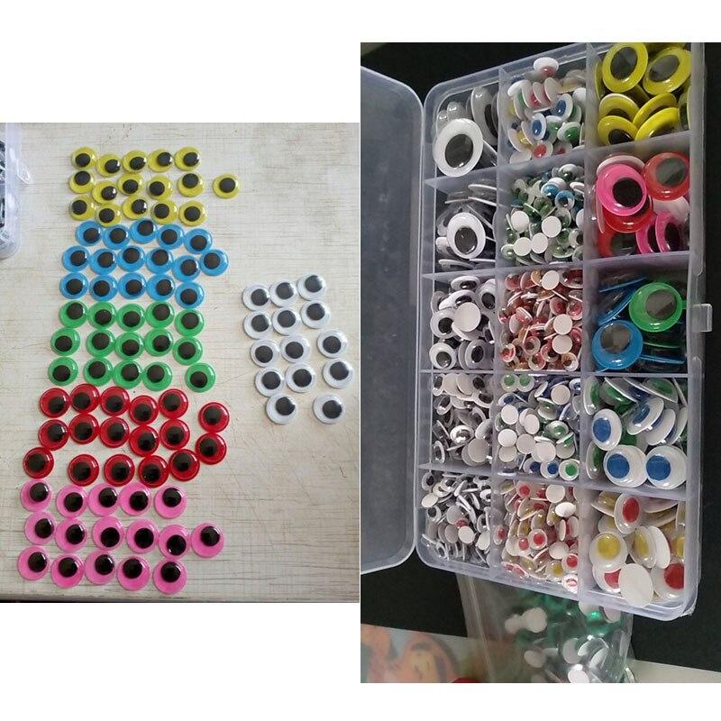 1500Pc 4мм-15мм смешанные самоклеящиеся стикеры волнистые гугли глаза Глаза плюшевые игрушки ручной DIY игрушки глаза куклы DIY аксессуары