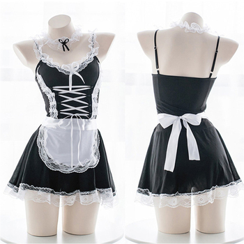 Women Sexy Lingerie Cosplay French Apron Maid Servant Lolita Costume Babydoll Dress Uniform Erotic Role play - discount item  26% OFF Costumes & Accessories