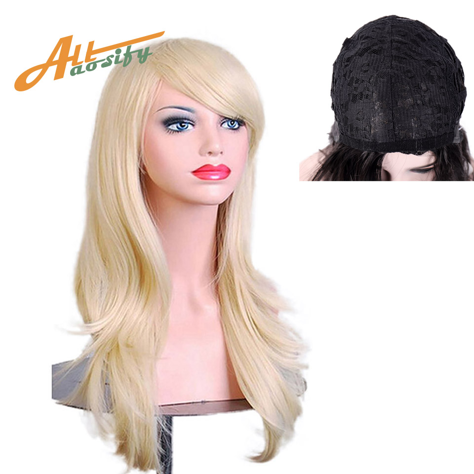 Allaosify Natural Wave Cosplay Wig Red Green Puprle Pink Black Blue Sliver Gray Blonde Brown 26