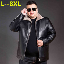 Plus size 8XL 6XL 5XL 4XL Winter Men's Genuine Leather Jackets Brand Clothing Black Sheepskin Jacket and Coats with Wool Collar(China)