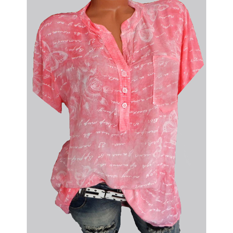 Women's Tops New Size Short Sleeve Ladies Shirt Elegant Shirt Fashionable Temperament Print Shirt Casual Short Sleeve Women's Lo