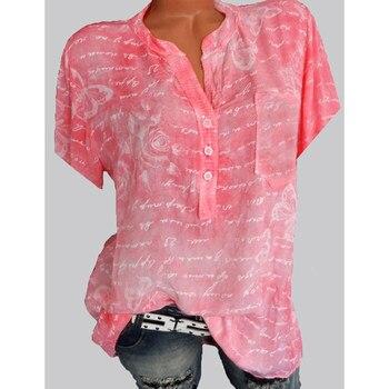 Women's Tops New Size Short Sleeve Ladies Shirt Elegant Shirt Fashionable Temperament Print Shirt Casual Short Sleeve Women's Lo hellow and good bye print short sleeve tops