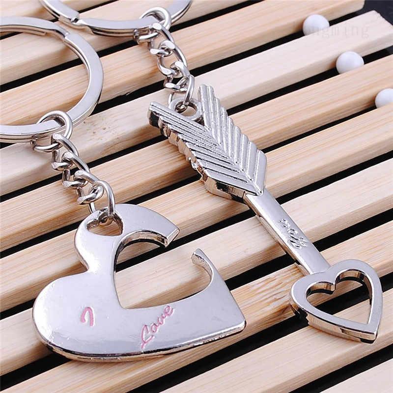 1 paire nouveau porte-clés en argent à la mode alliage flèche arc amour porte-clés porte-clés amoureux anneau Couples porte-clés pour cadeau vente