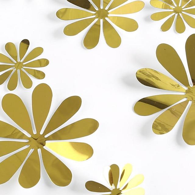12 pièces 3D bricolage Unique fleur autocollants miroir décoration maison chambre Art 3D bricolage Stickers muraux décoration de la maison