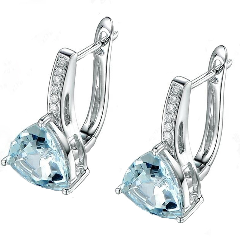 Fashion Charm blue Stones Heart Shape 925 silver Stud Earrings for Women Girl Trendy Elegant AAA Zircon Earring Jewelry Gift