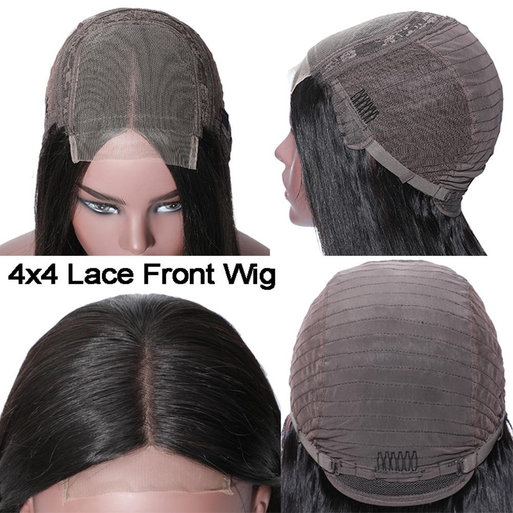 QT 4*4 Кружева Закрытие человеческих волос парики бразильские свободные глубокая волна для черных женщин предварительно сорванные Кружева Закрытие человеческих волос парик - 3