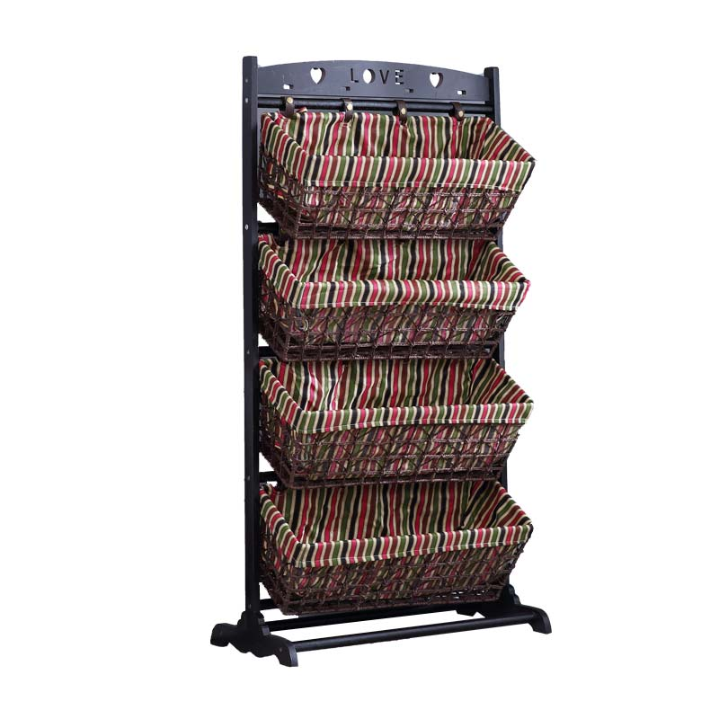 Household Snack Collection Rack Rattan Woven Basket Multi-layer Storage Newspaper Rack Bedroom Book And Newspaper Rack