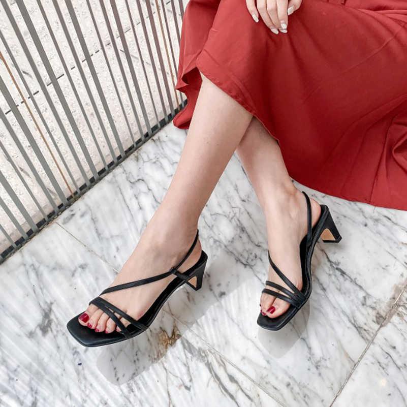 Meotina נשים סנדלי פס צר בוהן מרובע נעליים עקב גבוהה עור אמיתי עבה עקבים הנעלה גבירותיי קיץ סנדלי שחור 43
