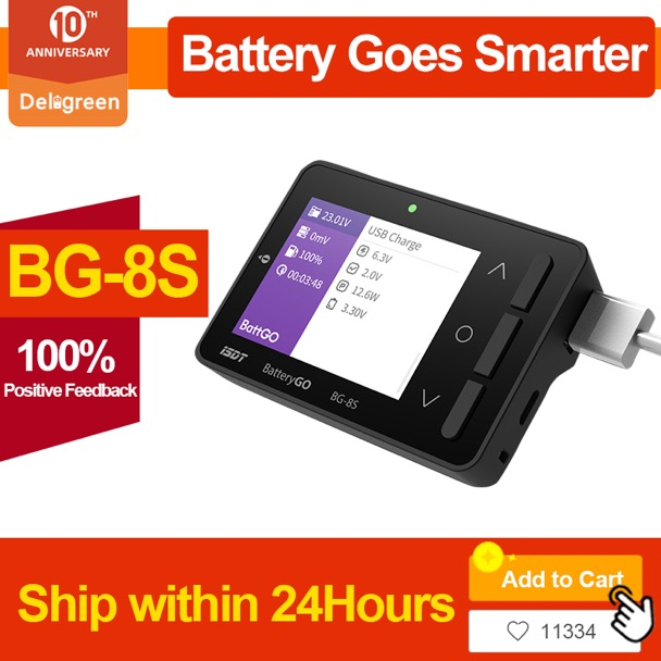 BG-8S Smart Battery Checker Quick Charge Function Balancer Receiver Signal Tester Ameter Volt Meter IT60i Connector