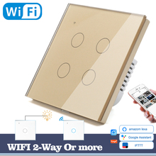 WIFI Touch Light Wall Switch Gold Glass Blue LED Universal Smart Home Phone Control 4 Gang 2 Way  Round Alexa Google Home