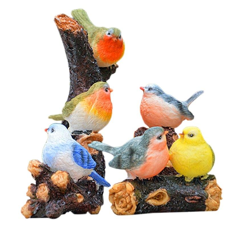 Top-6Pcs/Set Cute Birds Animal Figurines Resin Miniatures Figurine Craft Bonsai Pots Home Fairy Garden Ornament