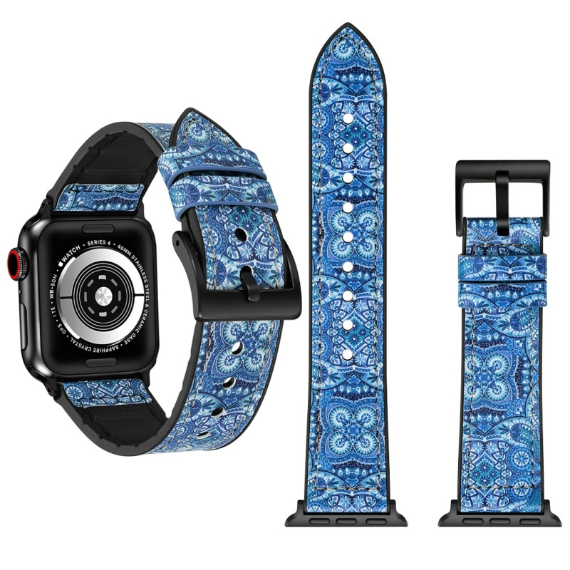 Suitable For APPLE Watch Four Generations 44 Mm Decorative Pattern TPU Lagging + Stainless Steel Watch Band