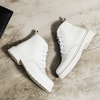 Genuine Leather Women white ankle Boots motorcycle Boots Female Autumn Winter Shoes Woman punk Motorcycle Boots 1
