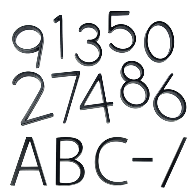 125mm Floating House Number Letters Big Modern Door Alphabet Home Outdoor 5 in.Black Numbers Address Plaque Dash Slash Sign #0-9