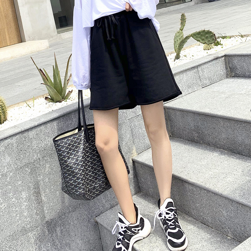 LXS22 Sports Wide Leg Shorts Women High Waist 2020 Spring And Summer New Loose Casual Shorts
