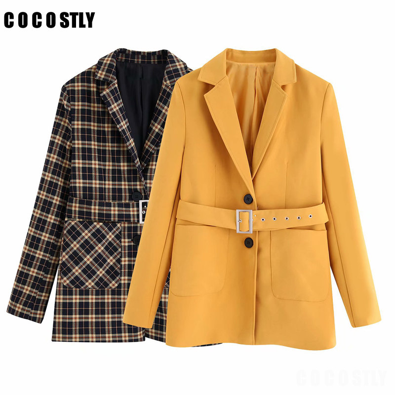 Winter Coat Vintage Plaid Elegant Office Suit For Women Blazers And Jackets Outwear Tops Female Chic Sashes Blazer Feminino