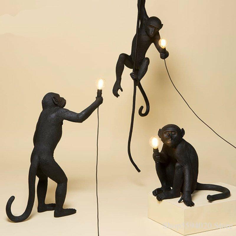 Современная черная лампа в форме обезьяны из смолы пеньковая веревка селетти лампа в форме обезьяны Белая Гостиная обезьяны огни в подвесн