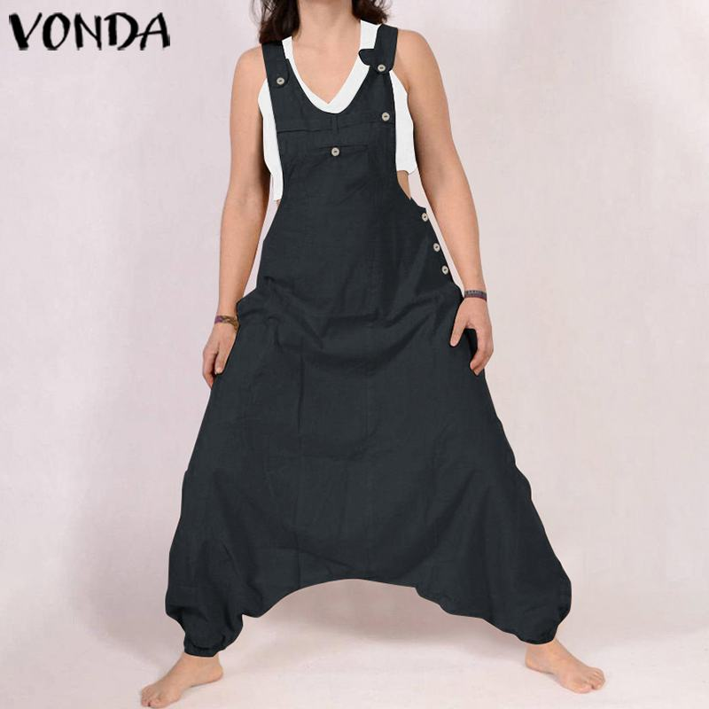 Women Jumpsuit VONDA 2019 Summer Cotton Rompers Solid Long Harem Pants Plus Size Casual Loose Pantalon Overalls Oversized